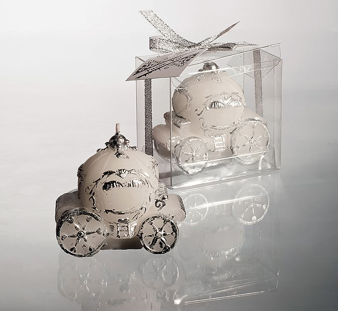 Vosková svatební svíčka - svatební kočár; bílá